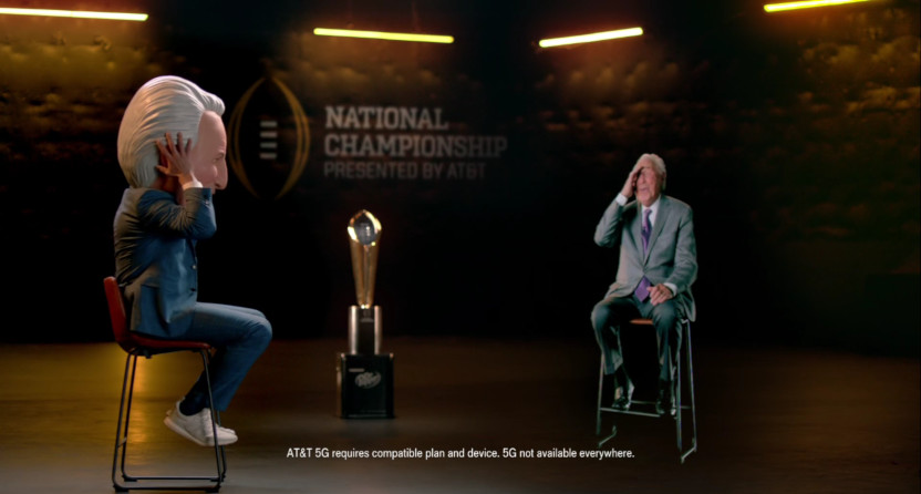 An AT&T ad featuring David Pollack and a hologram of Lee Corso.