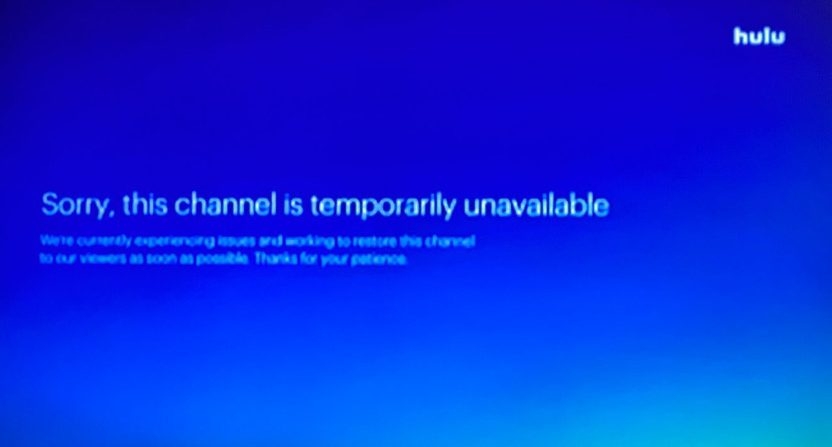 A Hulu NBC outage during Browns-Steelers.