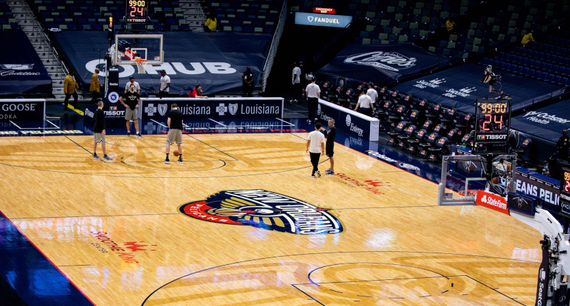 A photo from the cancelled Spurs-Pelicans game.