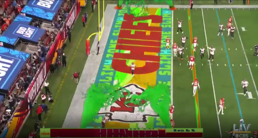 The Nickelodeon slime in the end zone at Super Bowl LV.