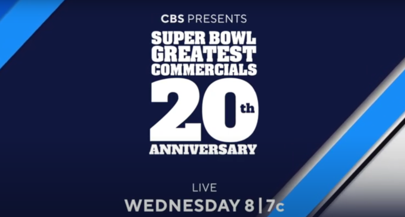 "A CBS ""Super Bowl Greatest Commercials"" special graphic."
