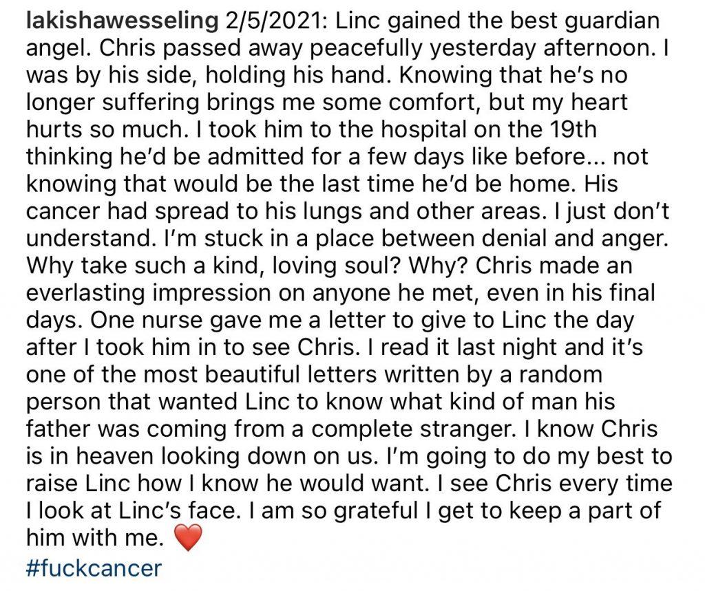 Lakisha Jackson Wesseling's tribute to her husband Chris.
