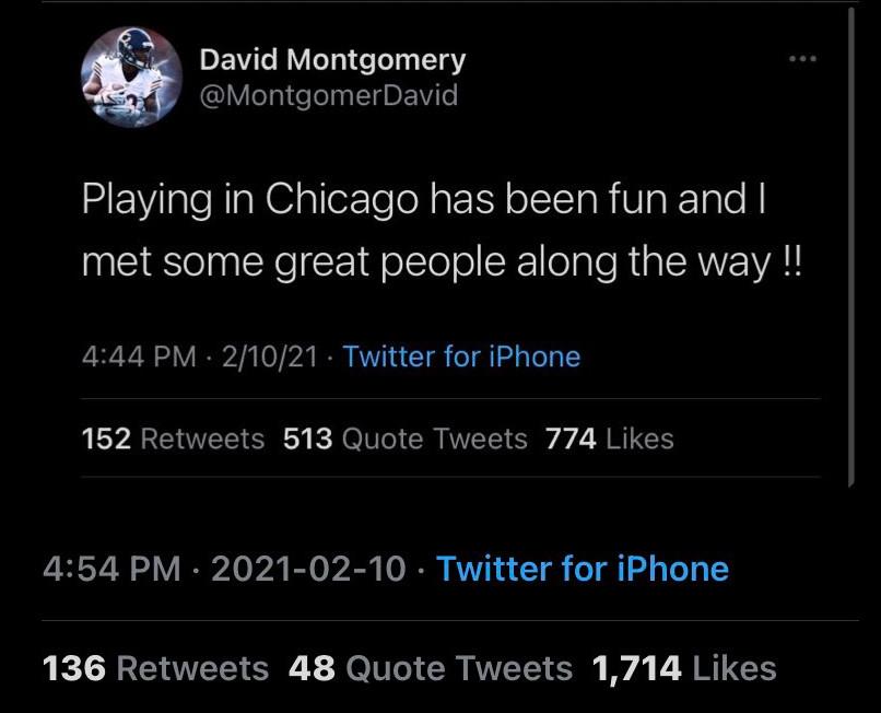 A tweet from David Montgomery.