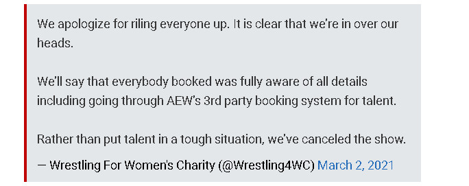 """The initial response from the """"Wrestling For Women's Charities"""" group."""