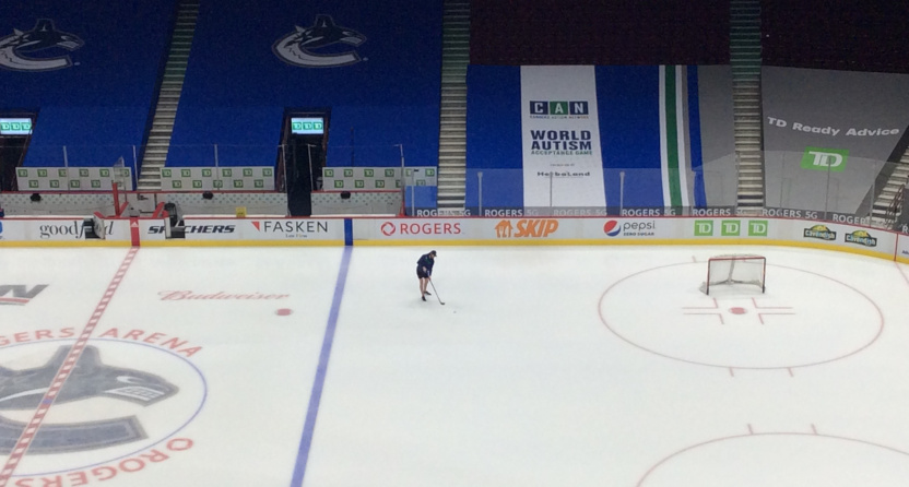 Thatcher Demko on empty ice after Canucks-Flames was postponed.