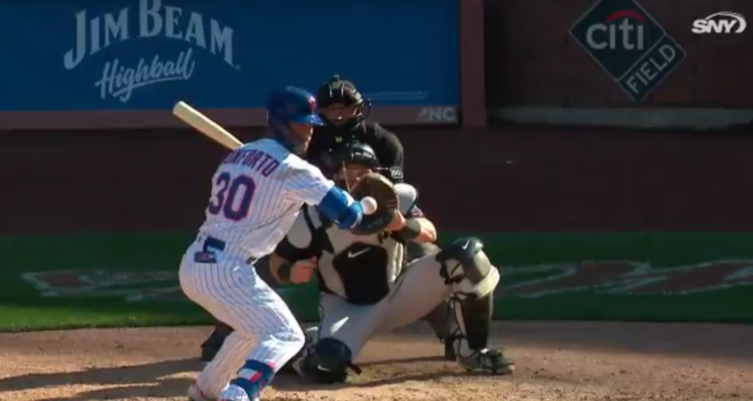 The Mets' Michael Conforto was hit by a pitch Thursday, with that call prompting SNY broadcast criticisms.