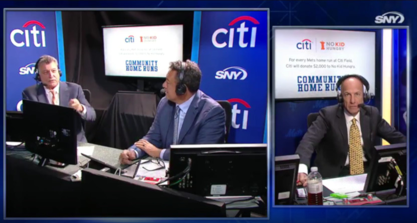 Keith Hernandez (left), Ron Darling, and Gary Cohen (right).