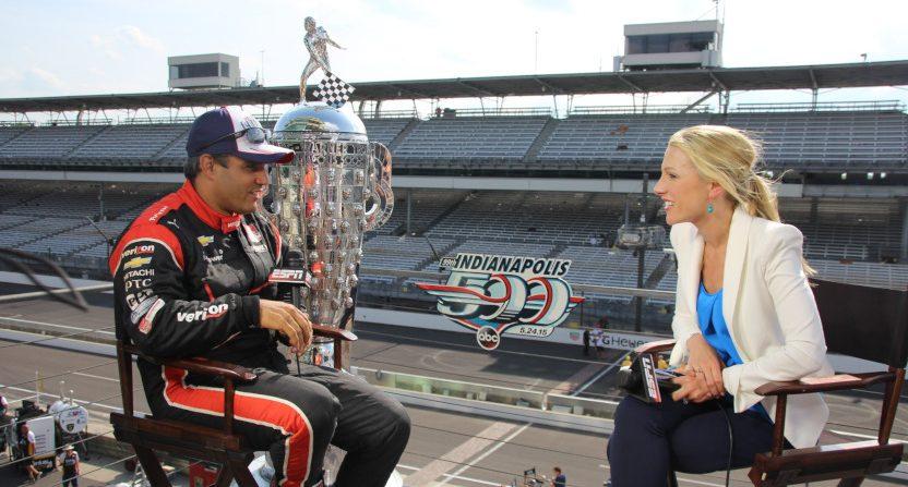 Lindsay Czarniak interviewing Juan Pablo Montoya.