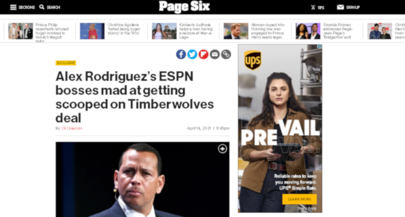 "Page Six report on Alex Rodriguez's ""lieutenants"" planning to give ESPN a scoop raises questions, and not just for A-Rod"