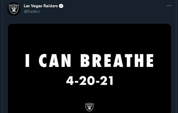 "The Raiders' ""I Can Breathe"" tweet."