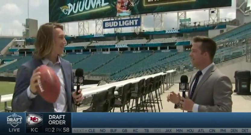Trevor Lawrence and NFL Network's James Palmer.