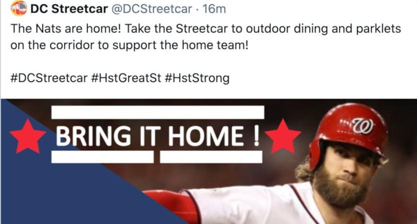 A screenshot of a DC Streetcar tweet on Bryce Harper.