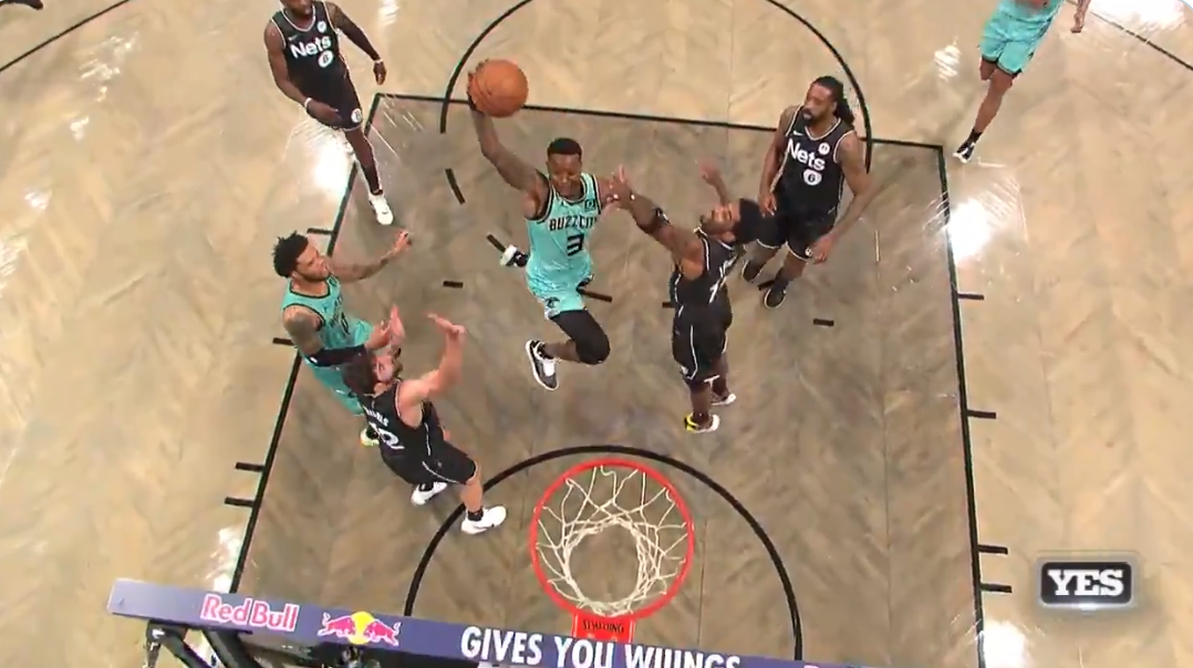 Terry Rozier ridiculous dunk features great calls from Eric Collins (Hornets) and Ian Eagle (Nets)