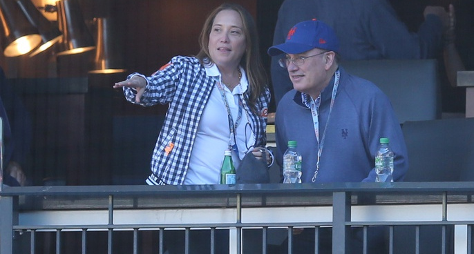 Alex and Steve Cohen at a Mets game on April 8, 2021.