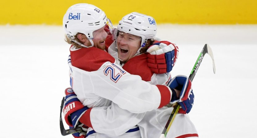 The Canadiens' Eric Staal and Tyler Toffoli celebrate Toffoli's goal against the Leafs.