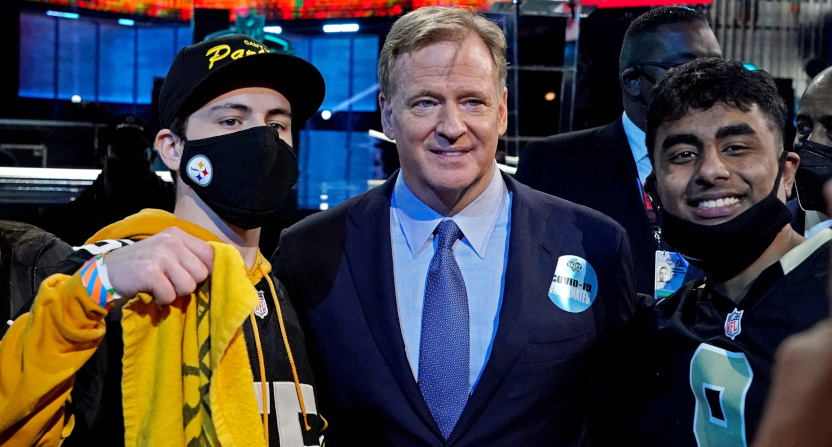 NFL commissioner Roger Goodell with fans at the 2021 NFL Draft.