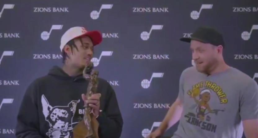 Jordan Clarkson got the NBA Sixth Man of the Year Award from teammate Joe Ingles live on TNT.
