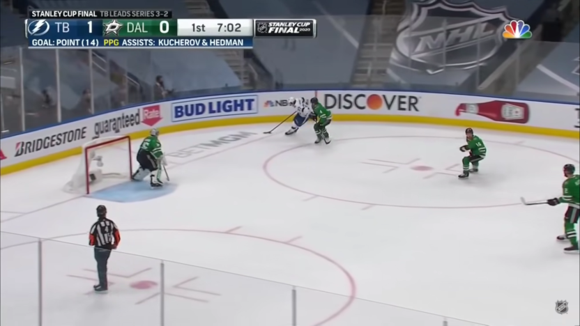 The NHL on NBC scorebug from the 2020 Stanley Cup Final.