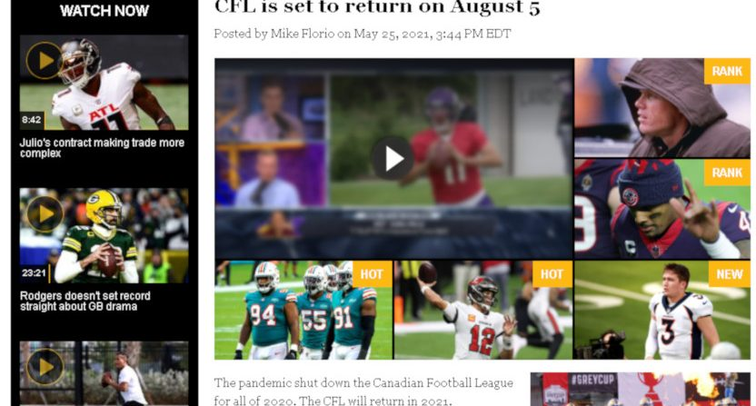 A Pro Football Talk story on the CFL's planned return.