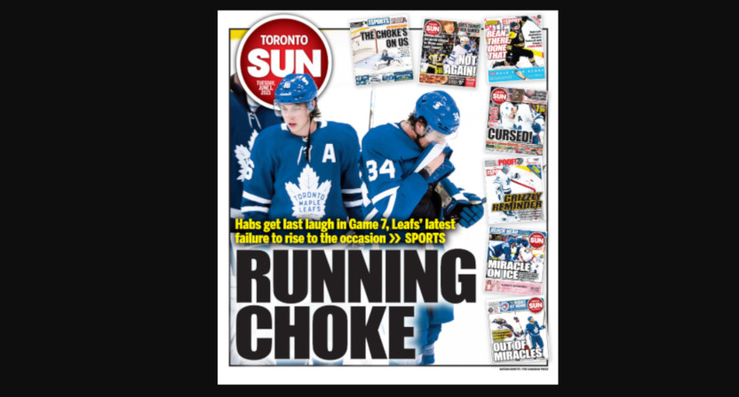 A Toronto Sun front page on the Leafs' playoff loss.