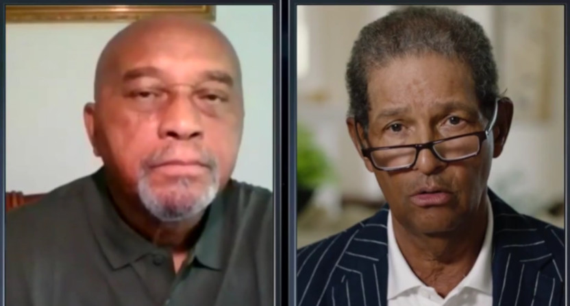 Tommie Smith (L) and Bryant Gumbel on Real Sports.