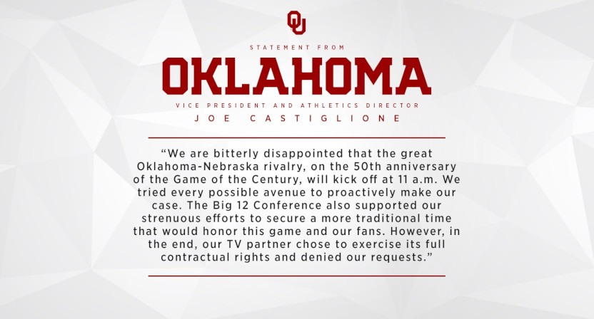 An Oklahoma statement about a noon ET kickoff.