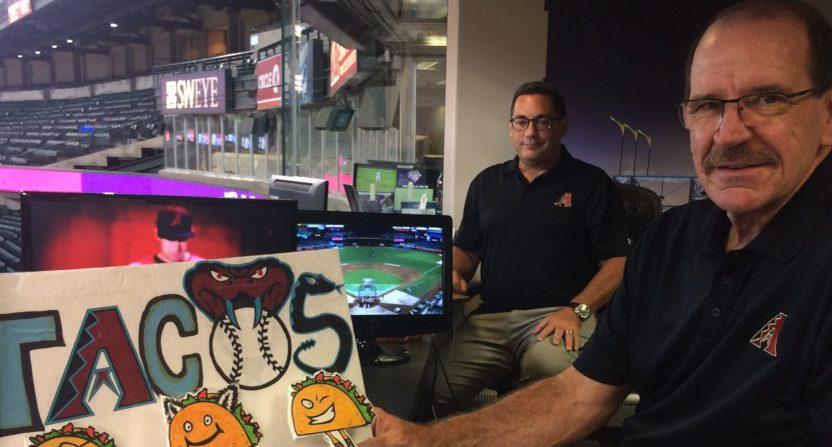 Bob Brenly (R) on an August 2019 Diamondbacks broadcast.
