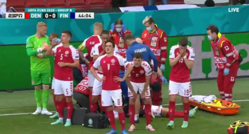 Players screening Christian Eriksen.