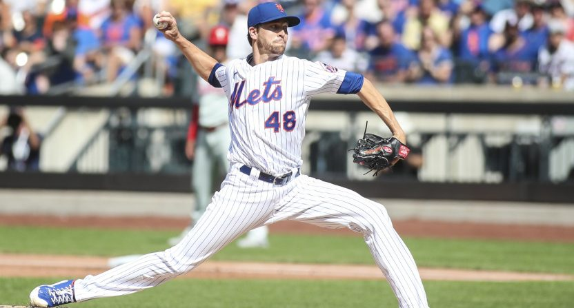 Jacob deGrom pitching against the Phillies.