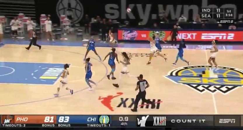 Kia Nurse draining a game-winner for the WNBA's Phoenix Mercury.
