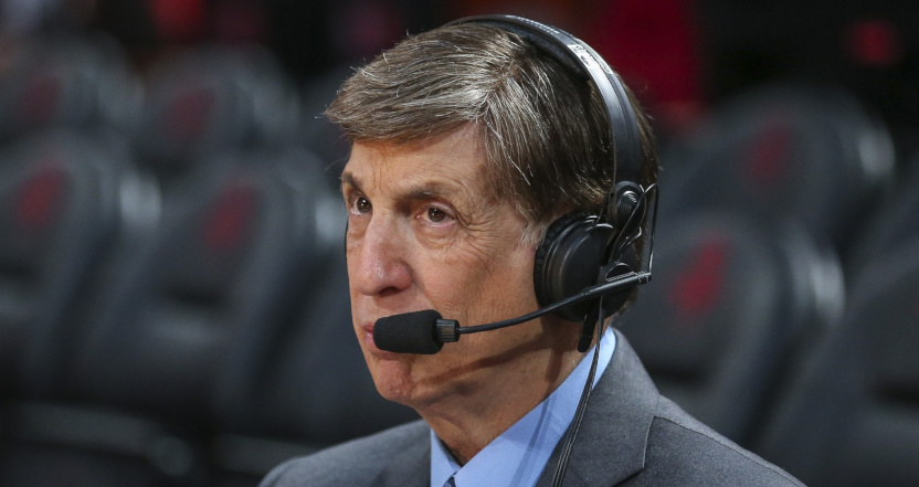 Marv Albert before a March 5, 2020 NBA on TNT broadcast.