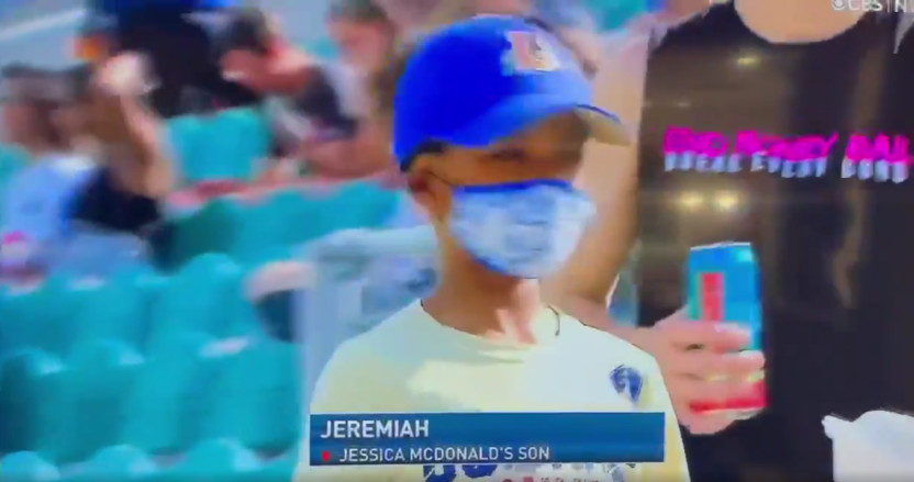Saturday's NWSL broadcast on CBS misidentified a fan as Jessica McDonald's son.