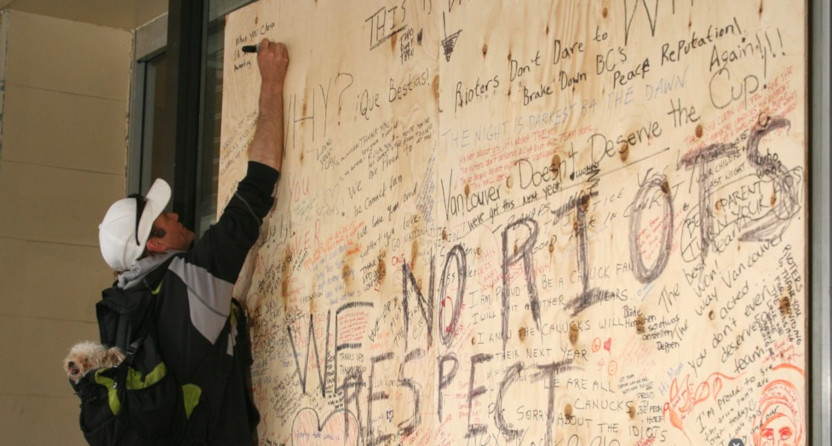 Boards put up in Vancouver after the 2011 Stanley Cup riot.