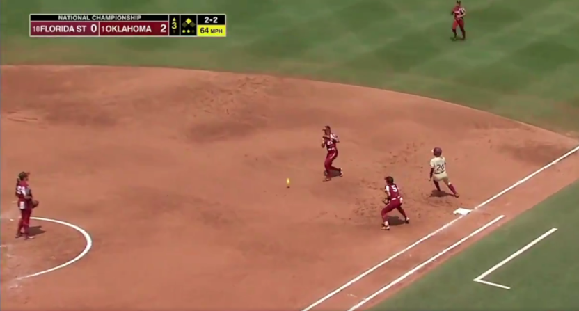 A dropped fly in the Women's College World Series.