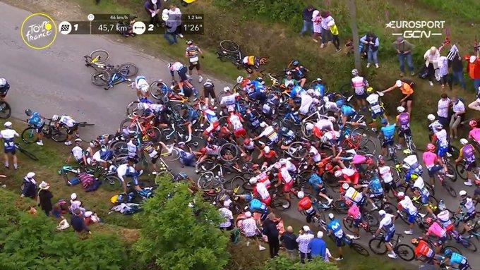 The aftermath of a Tour de France crash.