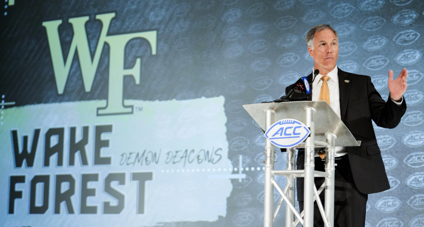 Dave Clawson with Wake Forest at ACC Kickoff in 2021.