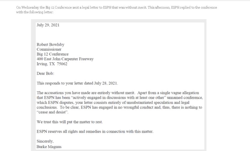 ESPN's response to the Big 12.