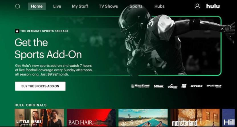 Hulu's Sports Add-On page.