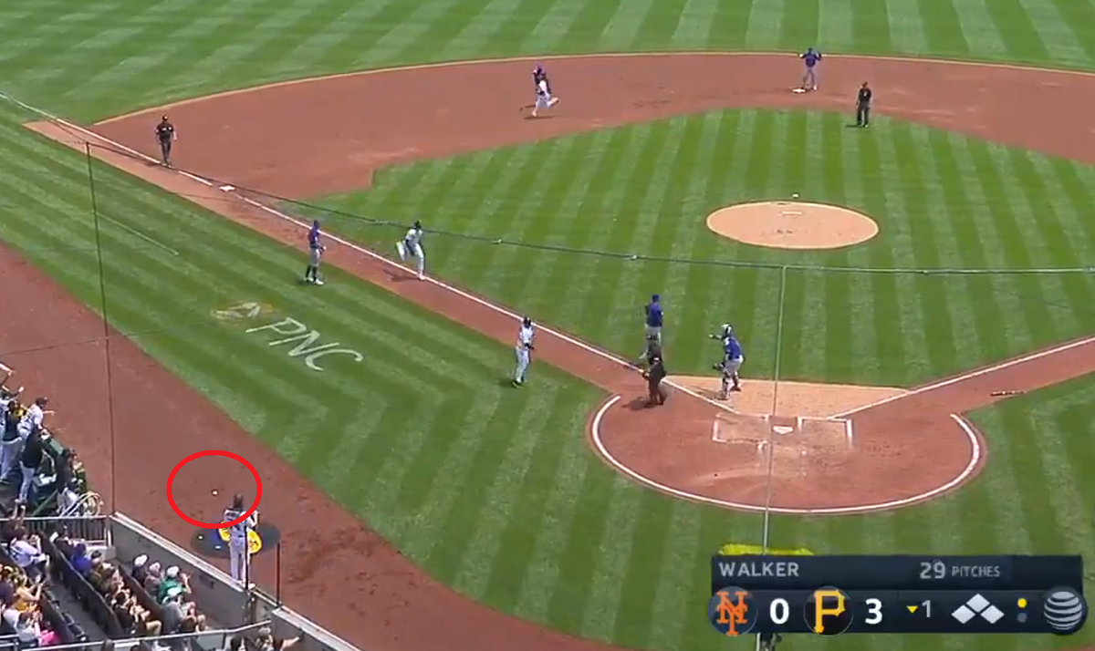 Here's how both booths called the ridiculous Mets blooper that benefitted the Pirates today