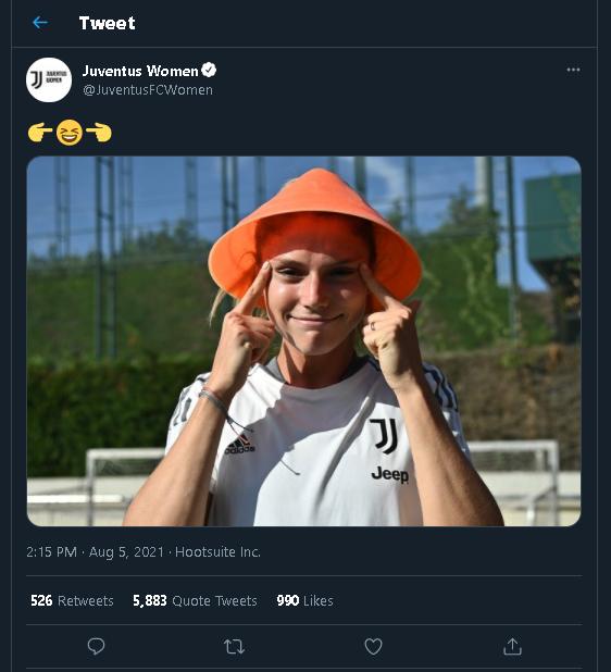 The full Juventus tweet.