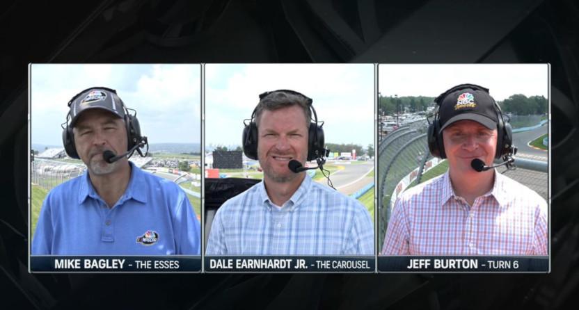 The NASCAR on NBC setup at Watkins Glen.