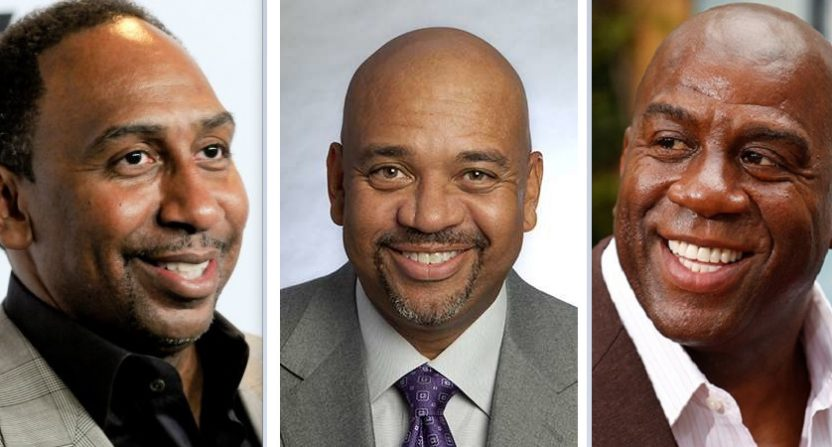 Stephen A. Smith, Michael Wilbon and Magic Johnson.