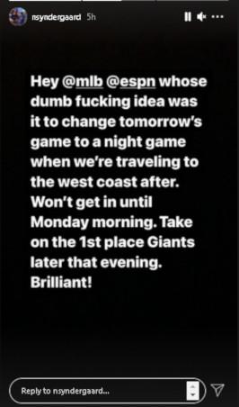 Noah Syndergaard's Instagram post.