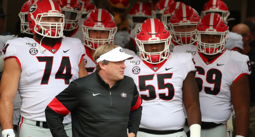 The Georgia Bulldogs coming out of the tunnel ahead of a 2019 game against Florida.