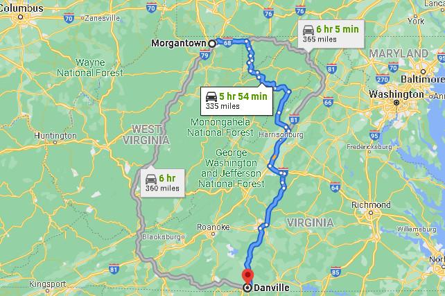 Morgantown to Danville.