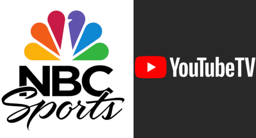 The NBC Sports and YouTube TV logos.