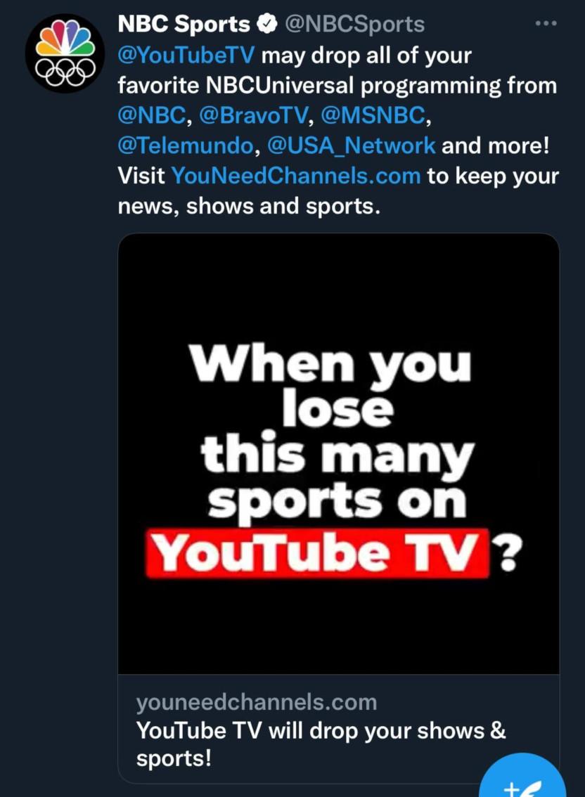 A NBC Sports tweet on YouTube TV.