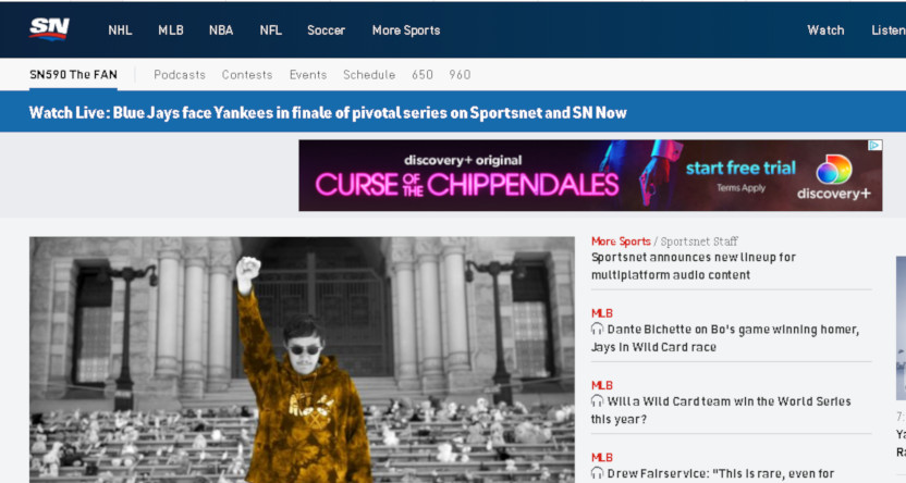 The Sportsnet The Fan 590 home page on September 30, 2021.