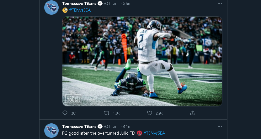 Twitter criticism of officiating from the Titans.