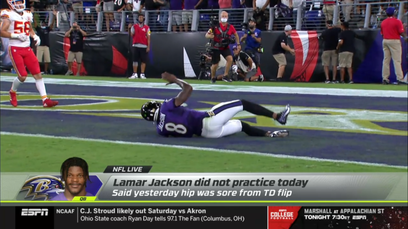 NFL Live coverage of Lamar Jackson not practicing.